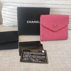 Pre-owned authentic Chanel pink wallet with box an